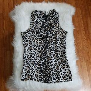 WHBM silk animal print sleeveless blouse